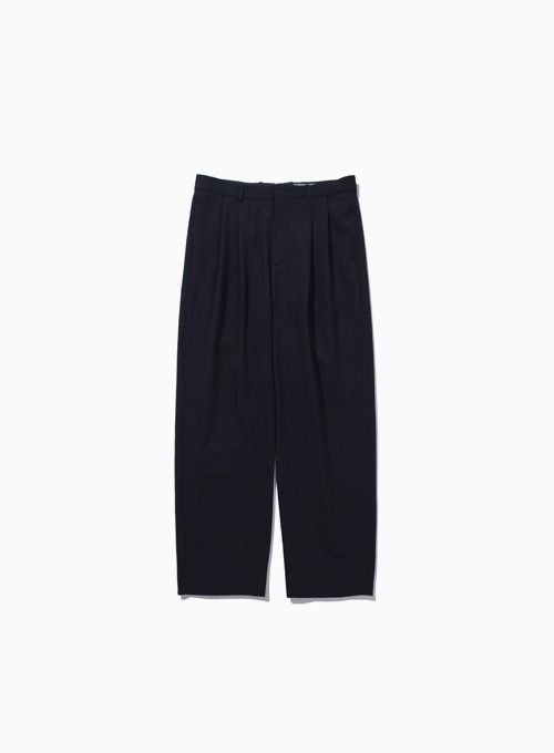 WOOL TWO PLEATED WIDE PANTS (DARK NAVY)