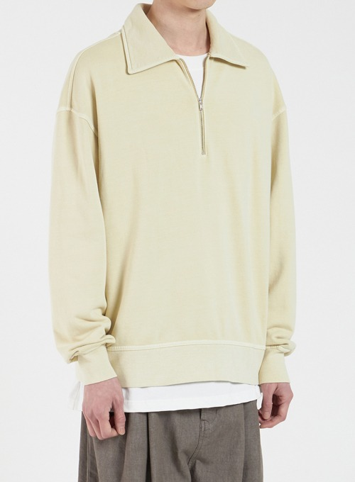DYED COLLAR SWEATSHIRT (PALE YELLOW)
