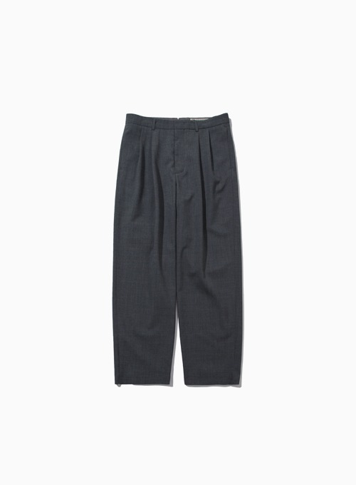 WOOL TWO PLEATED WIDE PANTS (MID GREY)