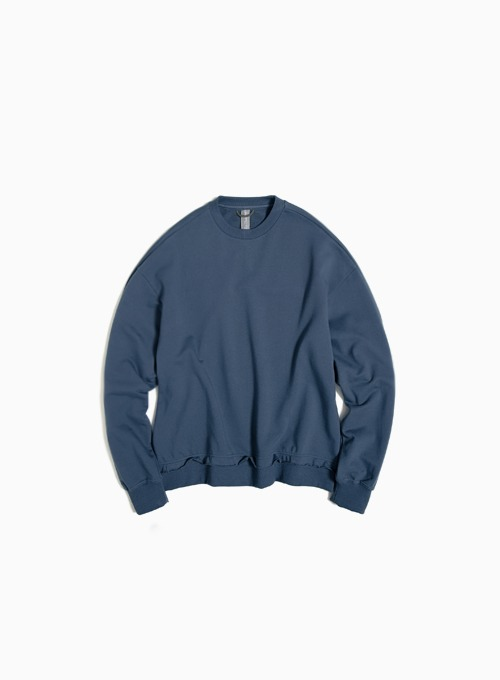 RAW EDGED CUT SWEATSHIRT (CHARCOAL BLUE)