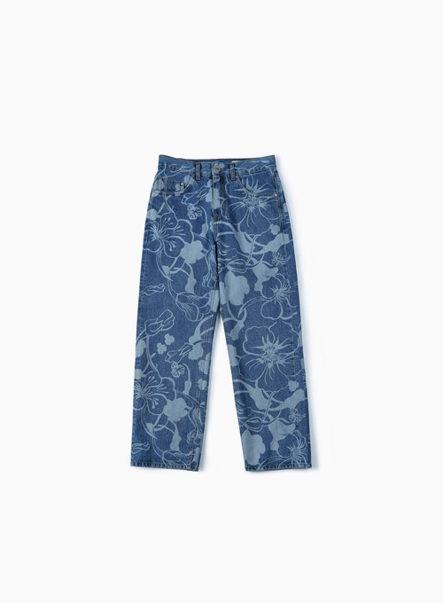 FLORAL LASER DENIM PANTS (LIGHT BLUE)