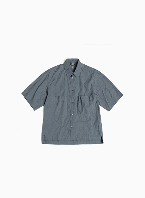 OVERSIZED HALF SHIRT (CHARCOAL BLUE)
