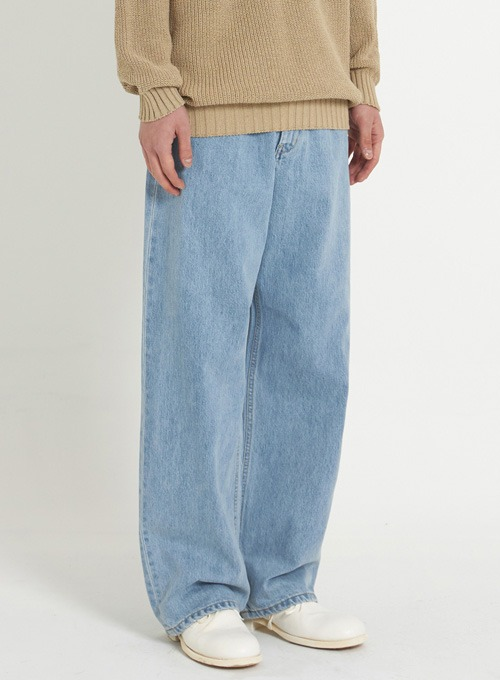 WIDE DENIM PANTS (LIGHT BLUE)