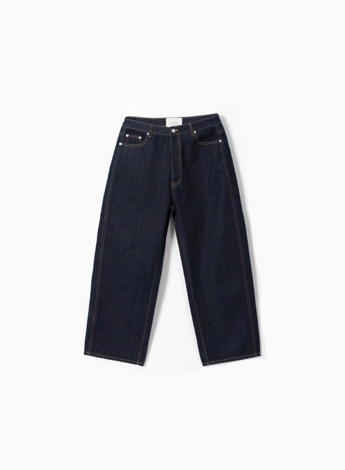 WIDE DENIM PANTS (ONE-WASHED)