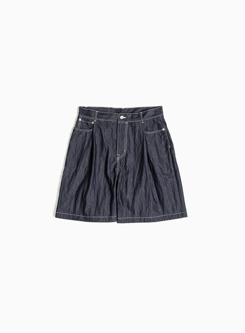 ONE TUCK DENIM SHORTS (INDIGO BLUE)