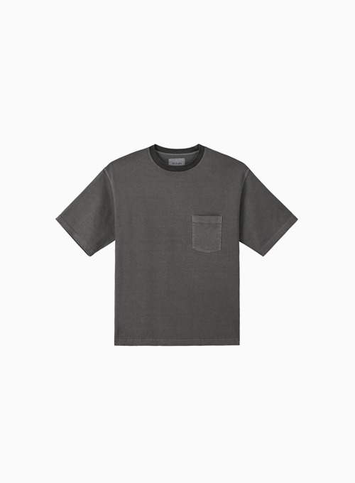 ONE POCKET GARMENT DYEING T-SHIRTS (CHARCOAL)
