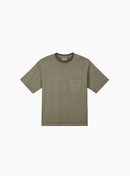 ONE POCKET GARMENT DYEING T-SHIRTS (OLIVE)