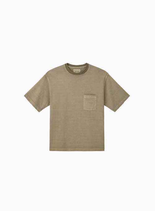 ONE POCKET GARMENT DYEING T-SHIRTS (BROWN)